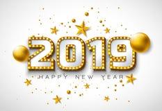 2019 απεικόνιση καλής χρονιάς με την τρισδιάστατη εγγραφή τυπογραφίας, και σφαίρα Χριστουγέννων στο άσπρο υπόβαθρο Σχέδιο διακοπώ απεικόνιση αποθεμάτων