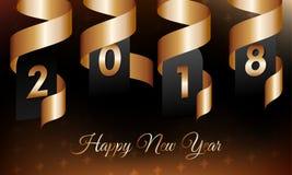 Απεικόνιση καλής χρονιάς 2018 με τη χρυσά κορδέλλα και snowflakes στο σκοτεινό υπόβαθρο κλίσης ελεύθερη απεικόνιση δικαιώματος
