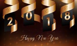 Απεικόνιση καλής χρονιάς 2018 με τη χρυσά κορδέλλα και snowflakes στο σκοτεινό υπόβαθρο κλίσης Έτος του σκυλιού ελεύθερη απεικόνιση δικαιώματος