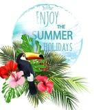 Απεικόνιση καλοκαιρινών διακοπών Παραλία, όμορφη πανοραμική άποψη θάλασσας φοινίκων, με τα τροπικά λουλούδια ελεύθερη απεικόνιση δικαιώματος