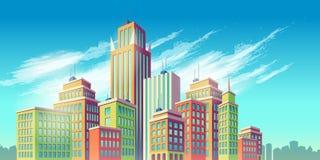 απεικόνιση κινούμενων σχεδίων, έμβλημα, αστικό υπόβαθρο με τα σύγχρονα μεγάλα κτήρια πόλεων Στοκ Εικόνα