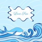 Απεικόνιση κινούμενων σχεδίων γαλάζιων φαλαινών που απομονώνεται στο διακοσμητικό υπόβαθρο κυμάτων, διανυσματικό γραφικό ζωηρόχρω Στοκ φωτογραφία με δικαίωμα ελεύθερης χρήσης