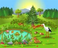 Απεικόνιση κινούμενων σχεδίων των άγριων ζώων που ζουν στο δάσος και που έρχονται στη λίμνη ελεύθερη απεικόνιση δικαιώματος