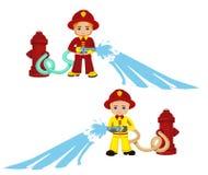 Απεικόνιση κινούμενων σχεδίων ενός αγοριού πυροσβεστών Στοκ Εικόνα