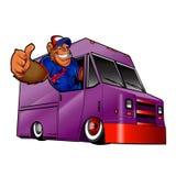 Απεικόνιση κινούμενων σχεδίων ενός γορίλλα που οδηγεί ένα φορτηγό Στοκ Φωτογραφία