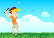 Απεικόνιση κινούμενων σχεδίων ενός παίκτη γκολφ διανυσματική απεικόνιση