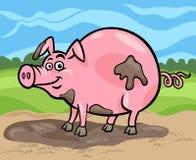 Απεικόνιση κινούμενων σχεδίων ζώων αγροκτημάτων χοίρων ελεύθερη απεικόνιση δικαιώματος