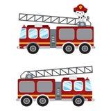 Απεικόνιση κινούμενων σχεδίων πυροσβεστικών οχημάτων και χαριτωμένος πυροσβέστης κουταβιών Στοκ Φωτογραφία