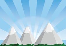 Απεικόνιση κινούμενων σχεδίων τοπίων βουνών, χαμηλό πολυ υπόβαθρο Στοκ φωτογραφία με δικαίωμα ελεύθερης χρήσης