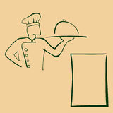 Απεικόνιση κινούμενων σχεδίων του αρχιμάγειρα με το τηγάνι Ελεύθερη απεικόνιση δικαιώματος