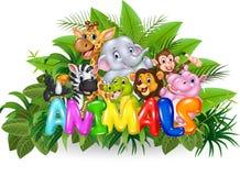 Απεικόνιση κινούμενων σχεδίων του ζώου του Word με το άγριο ζώο κινούμενων σχεδίων Στοκ εικόνα με δικαίωμα ελεύθερης χρήσης
