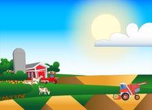 Απεικόνιση κινούμενων σχεδίων του καλλιεργήσιμου εδάφους με τα κτήρια και το κοπάδι Στοκ φωτογραφία με δικαίωμα ελεύθερης χρήσης