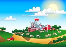Απεικόνιση κινούμενων σχεδίων του καλλιεργήσιμου εδάφους με τα κτήρια και το κοπάδι Στοκ εικόνες με δικαίωμα ελεύθερης χρήσης