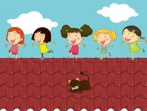 Απεικόνιση κινούμενων σχεδίων των παιδιών στη στέγη διανυσματική απεικόνιση