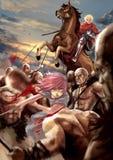 Απεικόνιση κινούμενων σχεδίων φαντασίας ενός θηλυκού κοριτσιού πολεμιστών και ενός αρσενικού διανυσματική απεικόνιση