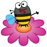 Μέλισσα που στέκεται σε ένα λουλούδι στο χρώμα διανυσματική απεικόνιση