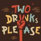 Απεικόνιση κινούμενων σχεδίων δύο ποτών παρακαλώ αστεία συρμένη χέρι καλλιτεχνική Στοκ φωτογραφίες με δικαίωμα ελεύθερης χρήσης