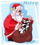 Απεικόνιση κινούμενων σχεδίων Santa δώρων Χαρούμενα Χριστούγεννας Στοκ Εικόνα