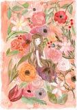 Απεικόνιση κοριτσιών και λουλουδιών στοκ εικόνα