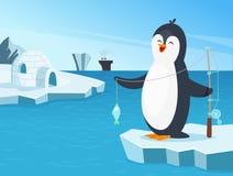 Απεικόνιση λίγου penguin που αλιεύει στο Βορρά ελεύθερη απεικόνιση δικαιώματος