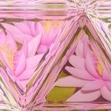 Απεικόνιση λουλουδιών Lotus και λεκιασμένο υπόβαθρο γυαλιού στο ρόδινο χρώμα κρητιδογραφιών Στοκ Φωτογραφίες