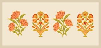 Απεικόνιση λουλουδιών Mughal και εκλεκτής ποιότητας χειρωνακτικό έργο τέχνης εγκαταστάσεων διανυσματική απεικόνιση