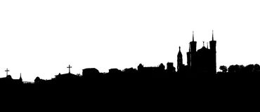 Απεικόνιση Λυών Γαλλία της Notre Dame de Fourviere βασιλικών Στοκ εικόνα με δικαίωμα ελεύθερης χρήσης