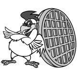 Απεικόνιση μασκότ βαφλών κοτόπουλου Στοκ εικόνες με δικαίωμα ελεύθερης χρήσης