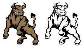Απεικόνιση μασκότ κινούμενων σχεδίων του Bull Στοκ Φωτογραφία