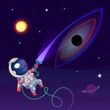 Απεικόνιση με έναν αστροναύτη Στοκ Εικόνες