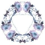 Απεικόνιση μελανιού του στρογγυλού πλαισίου με τα λουλούδια χρυσάνθεμων Στοκ φωτογραφία με δικαίωμα ελεύθερης χρήσης