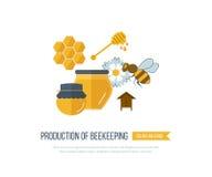 Απεικόνιση με τα εικονίδια της μελισσοκομίας προϊόντων Στοκ Εικόνες