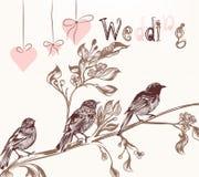 Απεικόνιση με τα πουλιά στο εκλεκτής ποιότητας ύφος για τις γαμήλιες κάρτες Στοκ Εικόνες