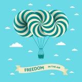 Απεικόνιση με την ελευθερία στην επιγραφή αέρα Διανυσματική κάρτα με το αεροσκάφος στο μπλε ουρανό διανυσματική απεικόνιση