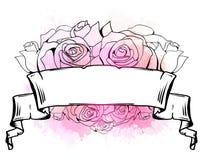 Απεικόνιση με την κατσαρωμένη κορδέλλα, καρδιά των τριαντάφυλλων και των ρόδινων παφλασμών watercolor r ελεύθερη απεικόνιση δικαιώματος