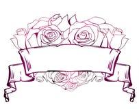 Απεικόνιση με την κατσαρωμένη περγαμηνή, καρδιά των τριαντάφυλλων Πλαίσιο με τη θέση για το κείμενο r ελεύθερη απεικόνιση δικαιώματος