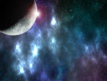 Απεικόνιση με τη φωτογραφία του φεγγαριού που λαμβάνεται σε 12 01 2019 με τα αφηρημένα constelations διανυσματική απεικόνιση