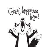 Απεικόνιση με τη χαρούμενη αλεπού που λέει - μεγάλη ευτυχία σε σας Για το σχέδιο των αστείων ειδώλων, των αφισών και των καρτών χ ελεύθερη απεικόνιση δικαιώματος