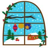 Απεικόνιση με τη χειμερινή εποχή σε ένα παράθυρο Στοκ φωτογραφία με δικαίωμα ελεύθερης χρήσης