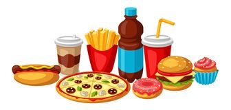 Απεικόνιση με το γεύμα γρήγορου φαγητού Νόστιμα προϊόντα μεσημεριανού γεύματος γρήγορου γεύματος διανυσματική απεικόνιση