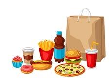 Απεικόνιση με το γεύμα γρήγορου φαγητού Νόστιμα προϊόντα μεσημεριανού γεύματος γρήγορου γεύματος απεικόνιση αποθεμάτων