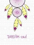 Απεικόνιση με το ινδικό dreamcatcher Στοκ εικόνα με δικαίωμα ελεύθερης χρήσης