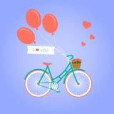 Απεικόνιση με το ποδήλατο και τα λουλούδια Στοκ εικόνα με δικαίωμα ελεύθερης χρήσης