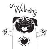 Απεικόνιση με το χαρούμενο μαλαγμένο πηλό που λέει - ευπρόσδεκτος Για το σχέδιο των αστείων ειδώλων, των αφισών και των καρτών ζώ απεικόνιση αποθεμάτων