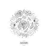 Απεικόνιση με ammonites και τα κοχύλια θάλασσας στο σκίτσο Στοκ Φωτογραφία