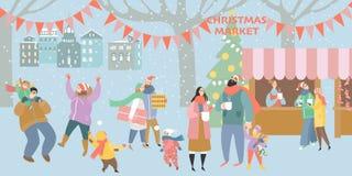 Απεικόνιση μιας αγοράς Χριστουγέννων με τους ευτυχείς ανθρώπους στοκ εικόνες
