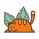 Απεικόνιση μιας κόκκινης γάτας στα πράσινα φύλλα ελεύθερη απεικόνιση δικαιώματος