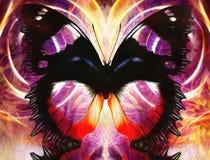 Απεικόνιση μιας πεταλούδας, μικτό μέσο, αφηρημένο υπόβαθρο χρώματος Στοκ Εικόνες