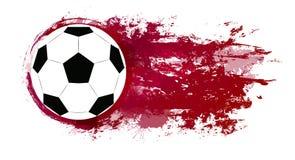 Απεικόνιση μιας σφαίρας ποδοσφαίρου με τους παφλασμούς και grunge τις γρατσουνιές watercolor διανυσματική απεικόνιση