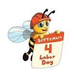 Απεικόνιση μιας χαριτωμένης μέλισσας με την αφίσα Εργατικής Ημέρας Στοκ Εικόνα